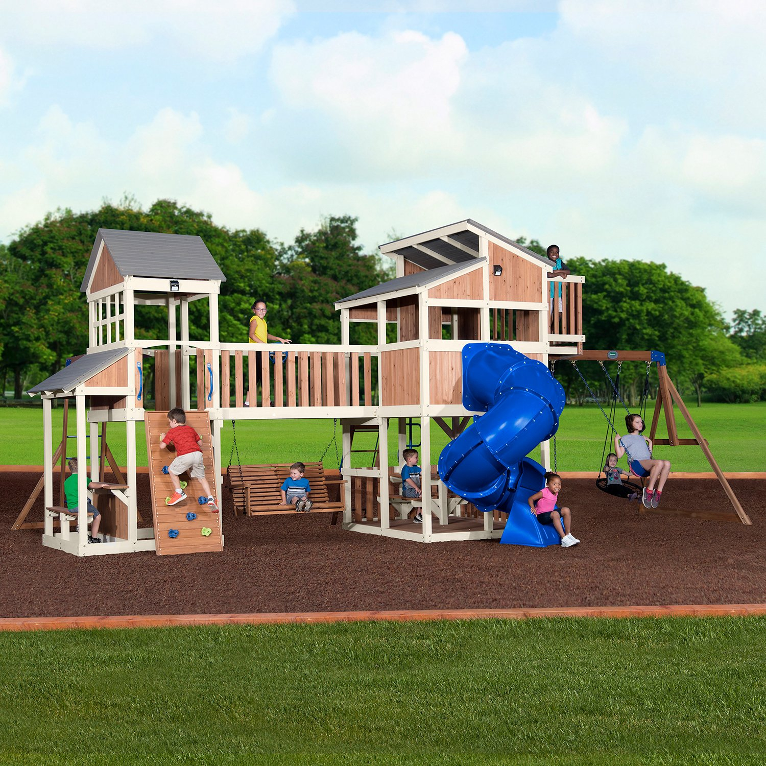 Details About Backyard Discovery Ultimate Cedar Wood Swing Set Playground Tube Slide Playhouse