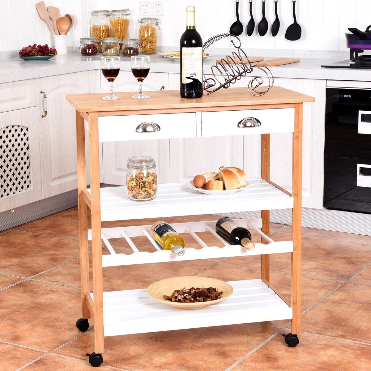Details about Kitchen Storage Cart Two Drawers Shelves Wine Rack Home  Bamboo Rolling Trolley