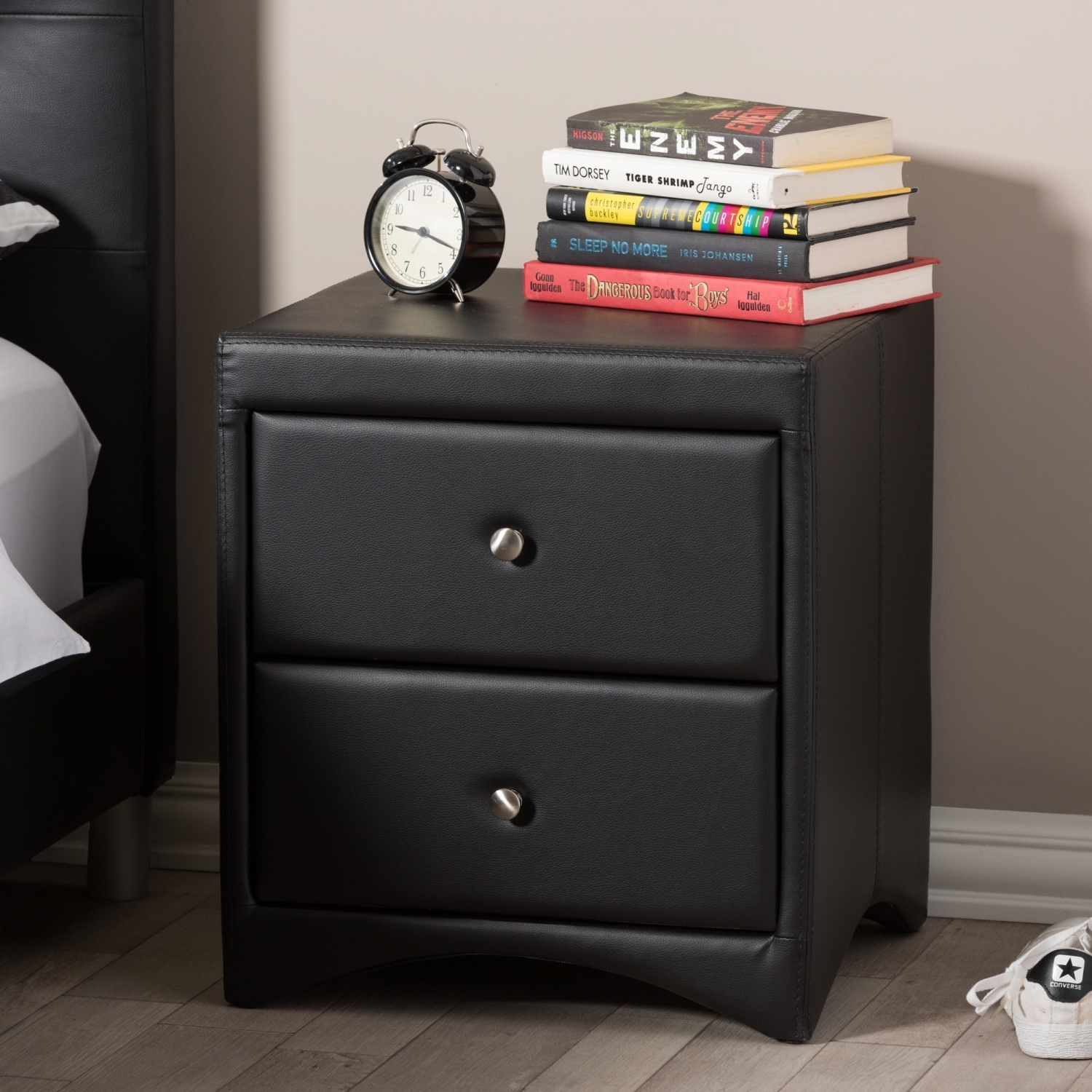 Details About Bed Nightstand 2 Drawer Side Table Faux Leather Upholstered Modern Design Black