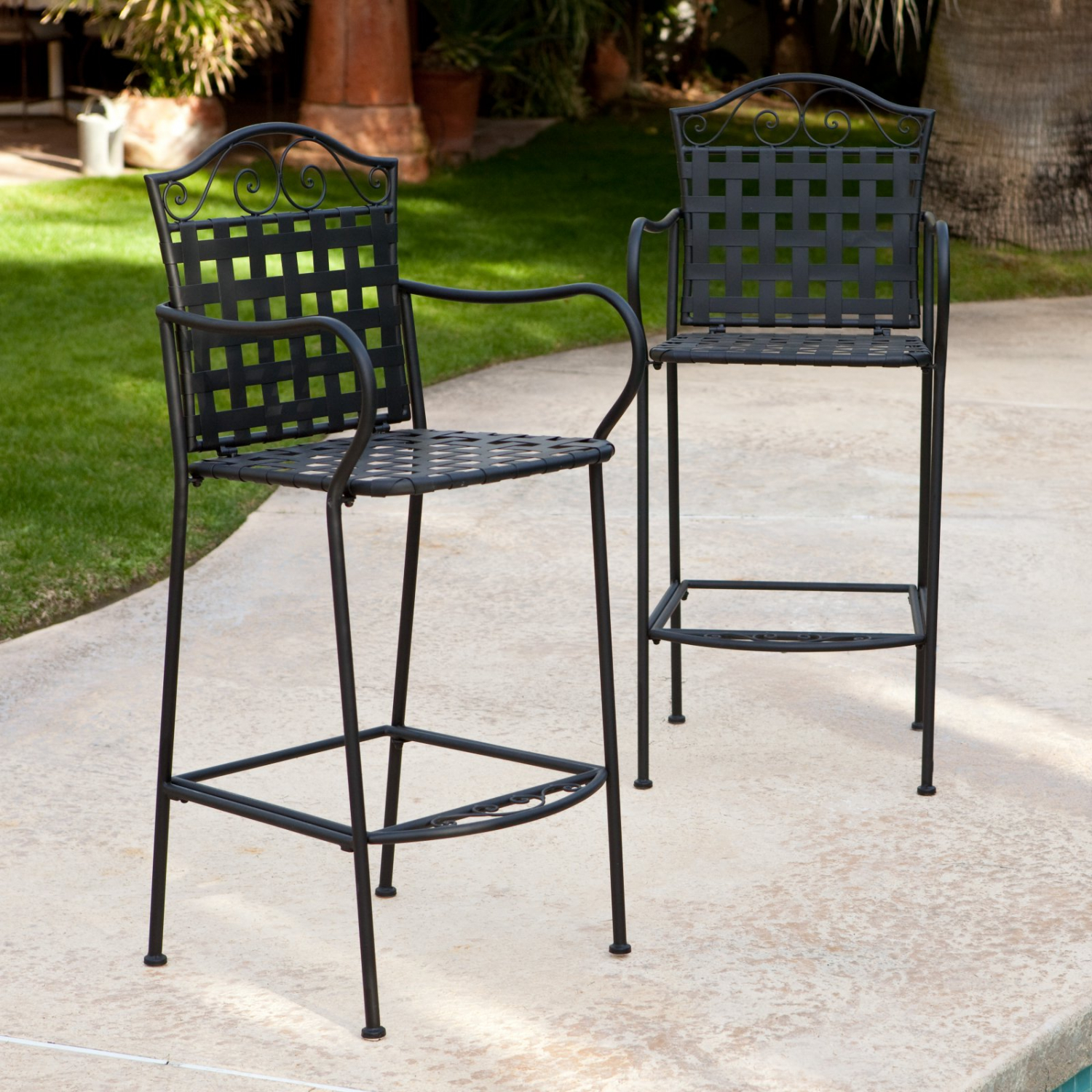 Details About Outdoor Bar Stool Wrought Iron All Weather Patio Pool Chair Furniture Set Of 2
