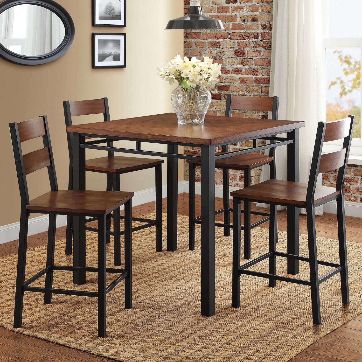 Kitchen Nook Tables   Details About 5 Piece Counter Height Table Chairs Dining Room Kitchen Nook Set Brown Oak