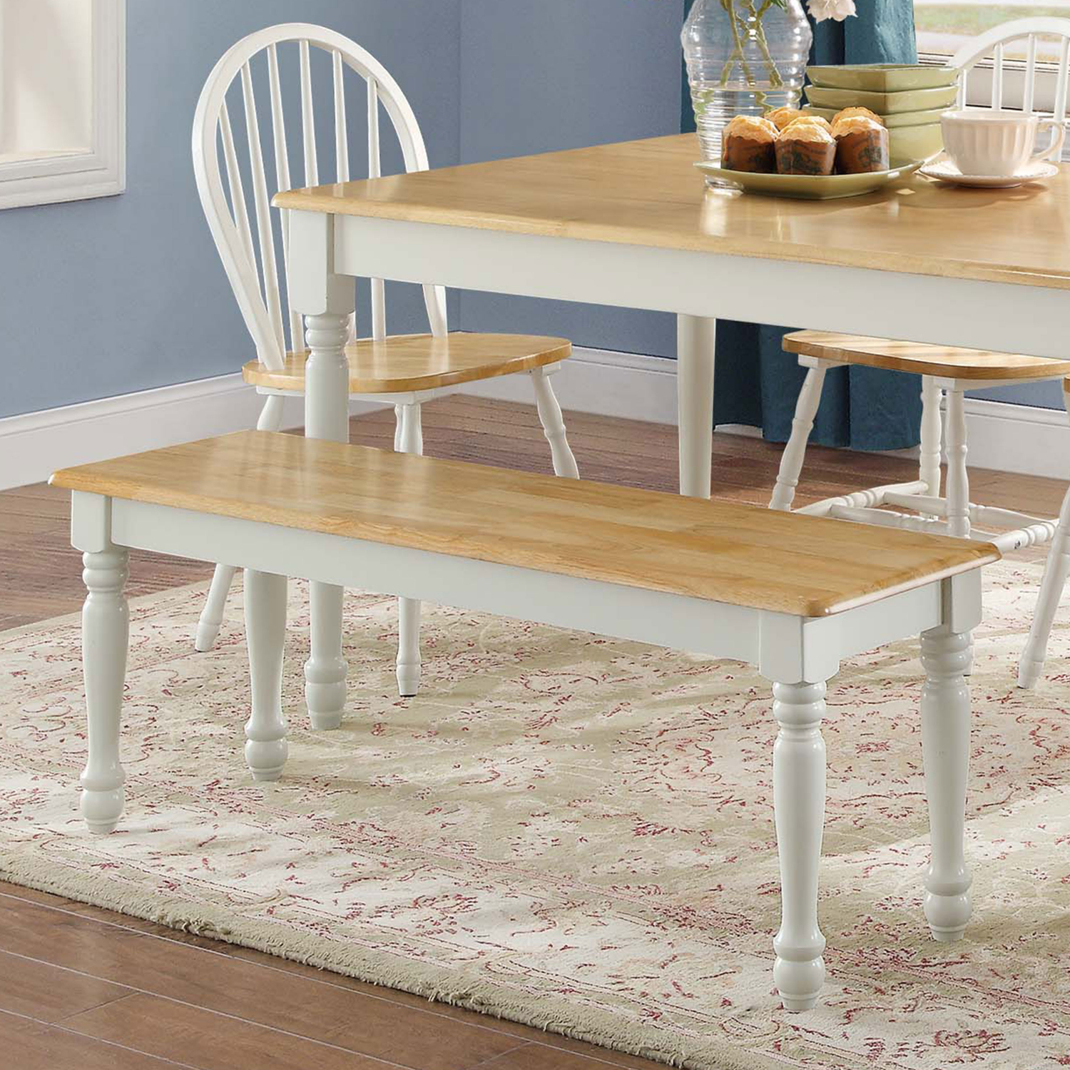 Details About Solid Wood Dining Bench Autumn Lane Kitchen Dining Room  Furniture Two Toned New