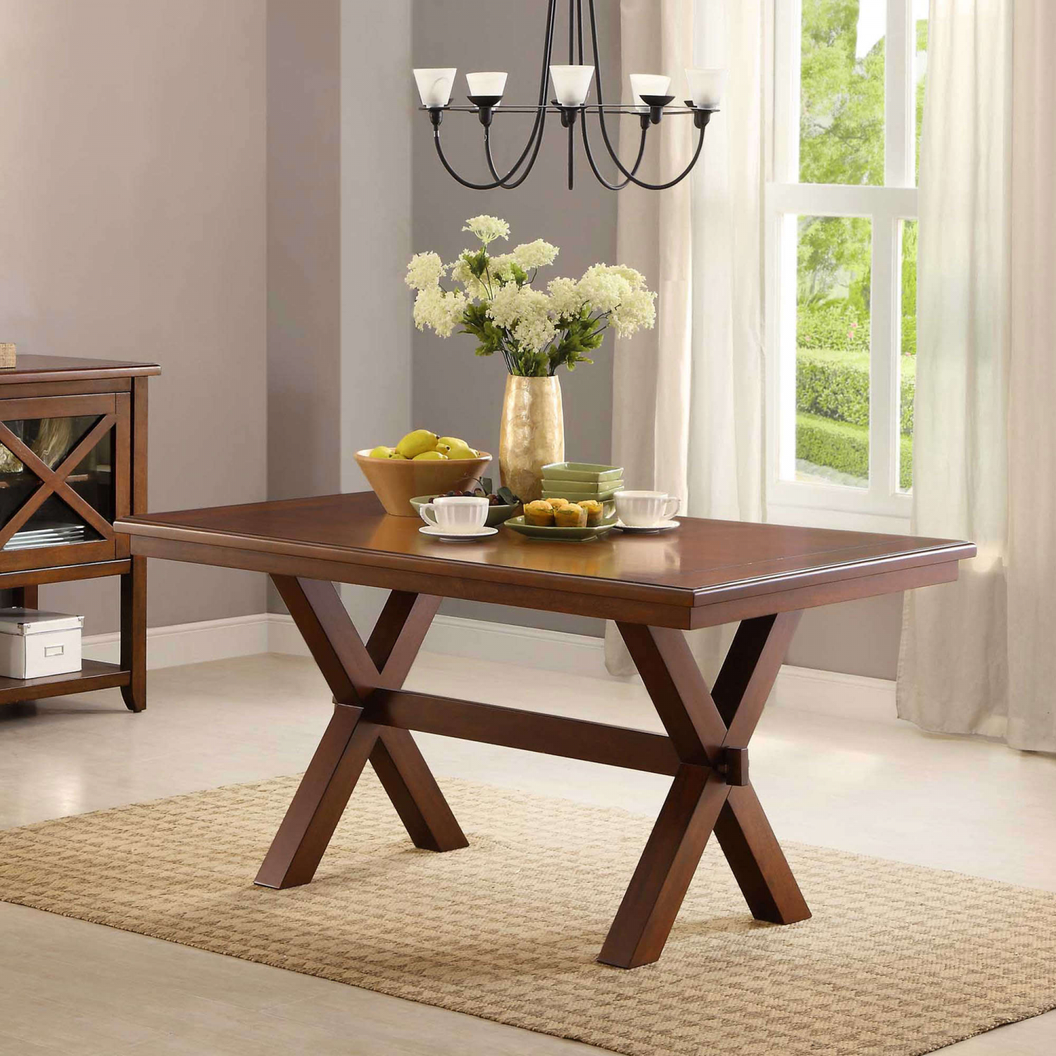Details about farmhouse dining room table wood kitchen breakfast tables 6 person rectangular