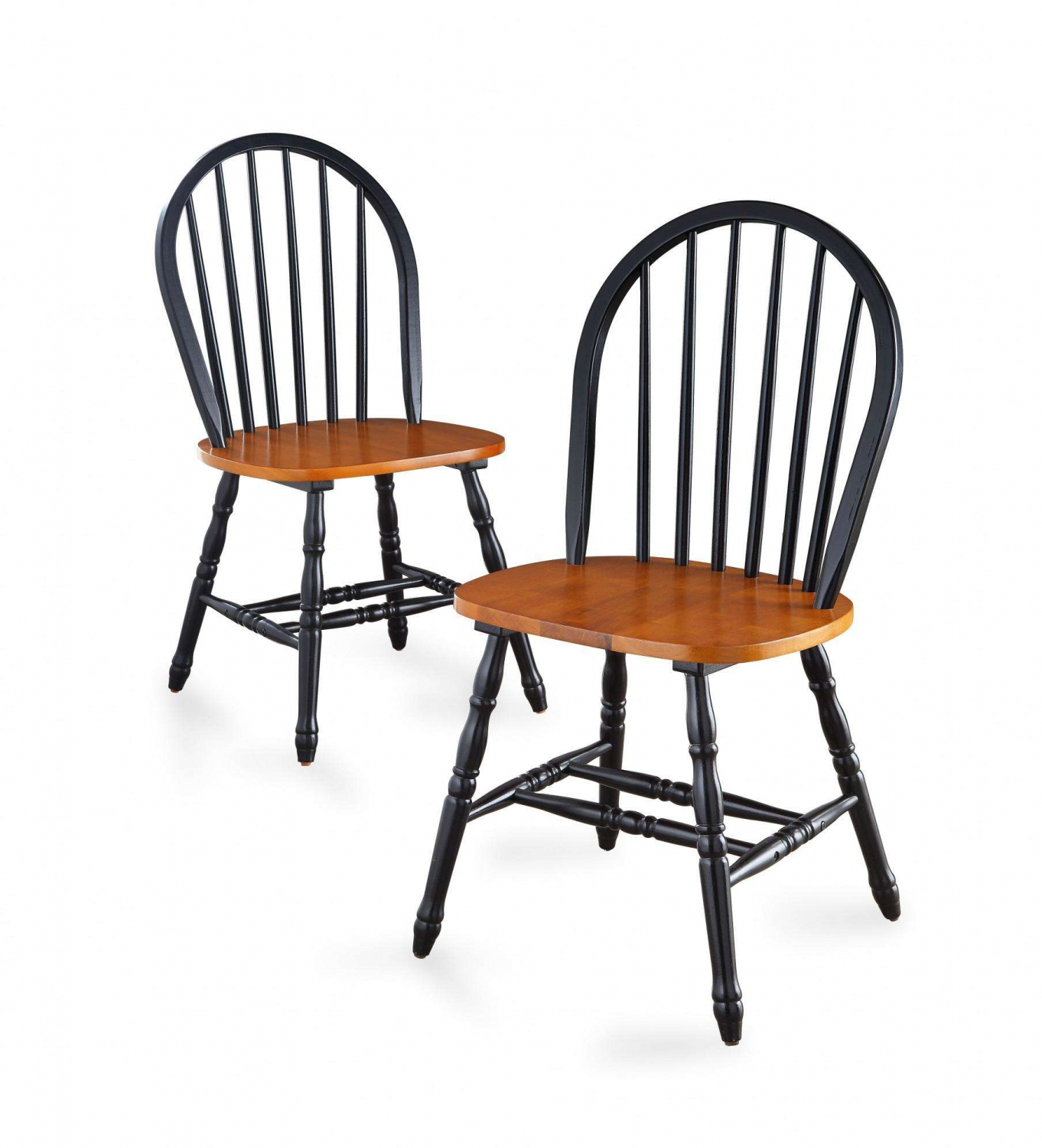 Windsor Solid Wood Dining Chairs Set Of 2 Solid Black