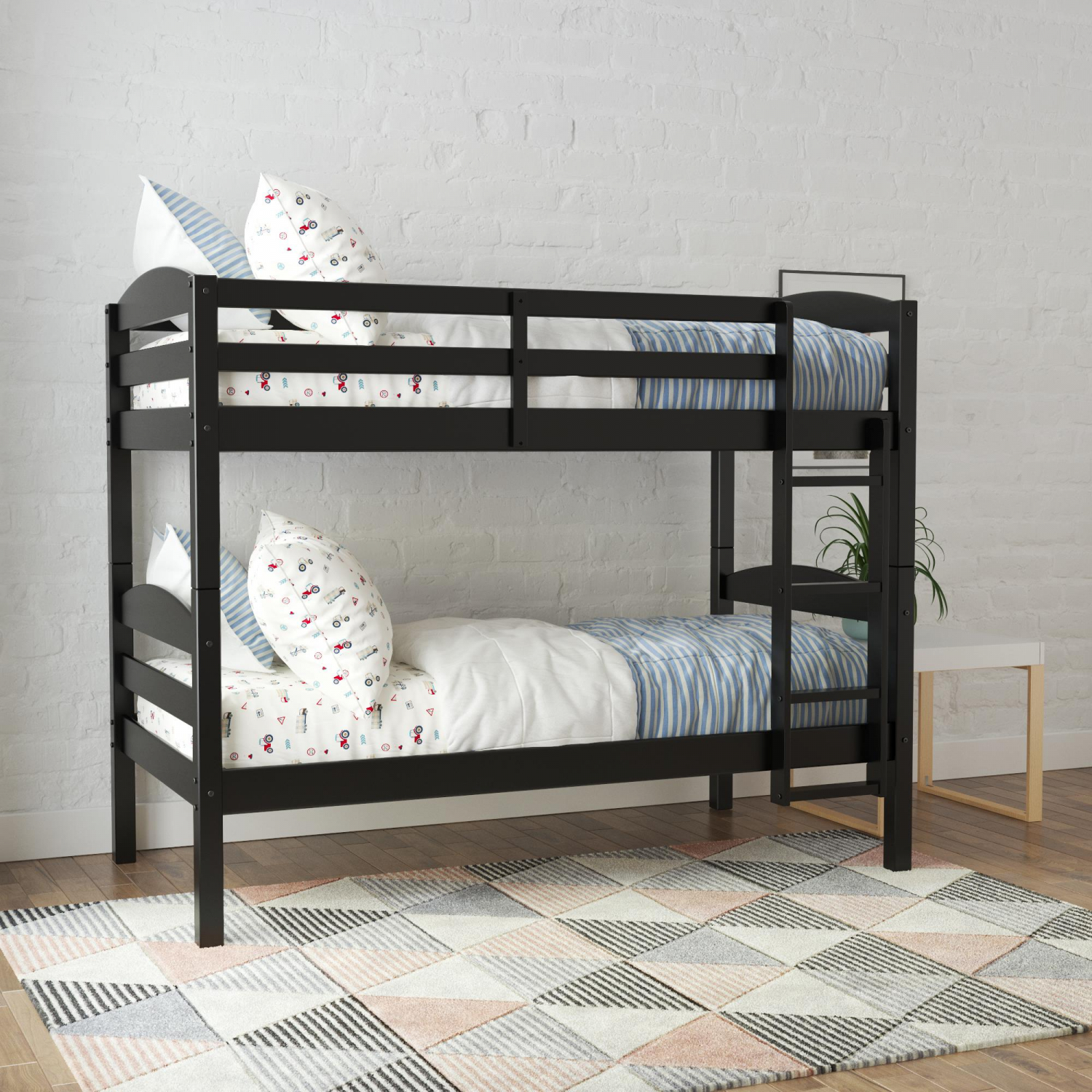 Picture of: Twin Over Twin Wooden Convertible Bunk Bed With Ladder Rails For Kids Black 7445053894825 Ebay