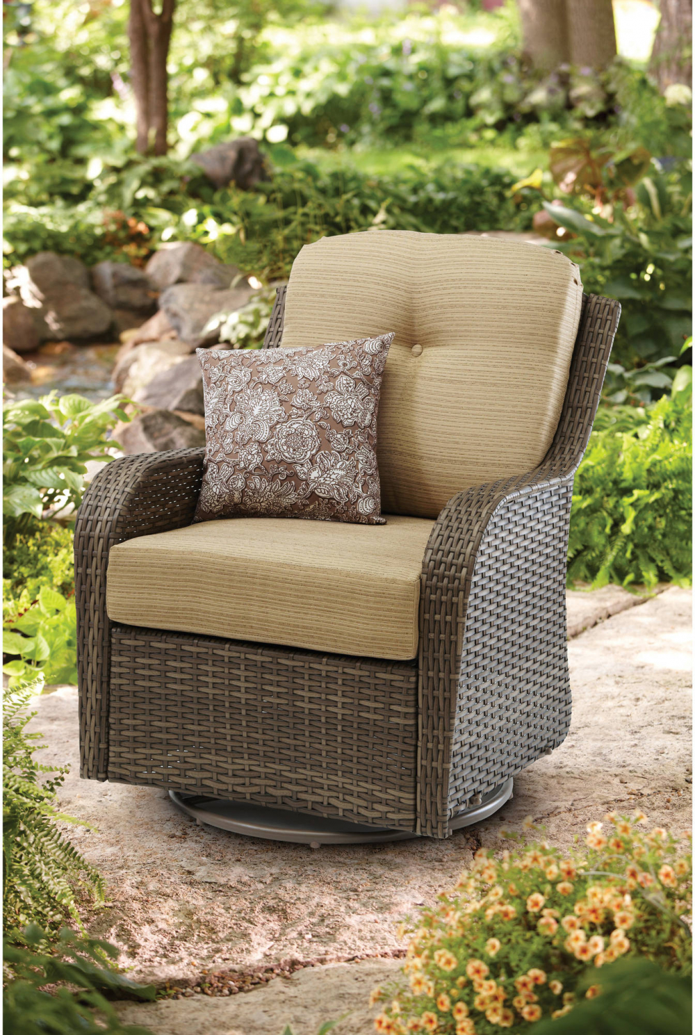 Better homes and gardens all motion swivel glider chair outdoor patio furniture