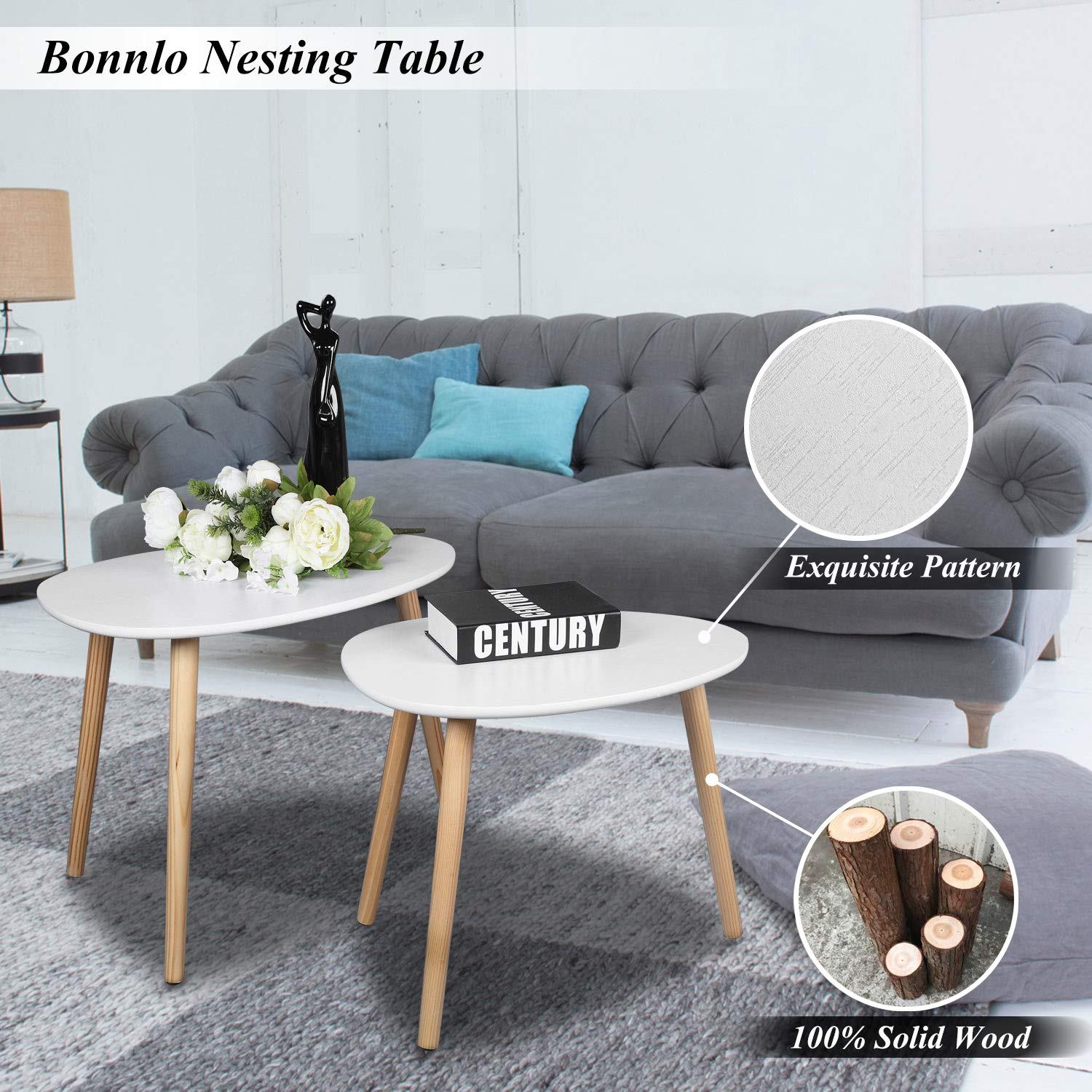Details About Set Of 2 Nesting Tables End Living Bed Room Office Sofa Accent Coffee
