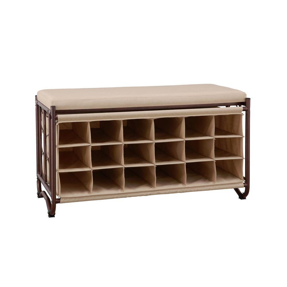 Strange Details About 39 In Shoe Storage Bench Metal And Canvas W 18 Individual Cubbies Brown Beige Lamtechconsult Wood Chair Design Ideas Lamtechconsultcom