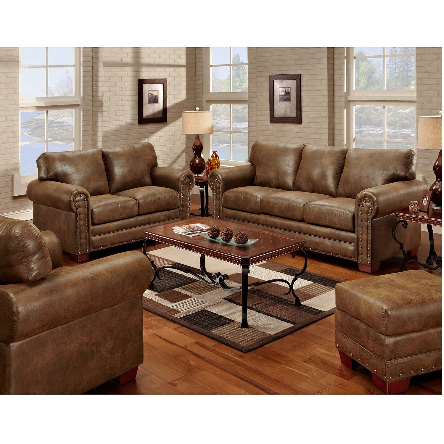 Details about Rustic Western Buckskin Nailhead Living Room Sofa Loveseat  4-Pc Set Faux Leather