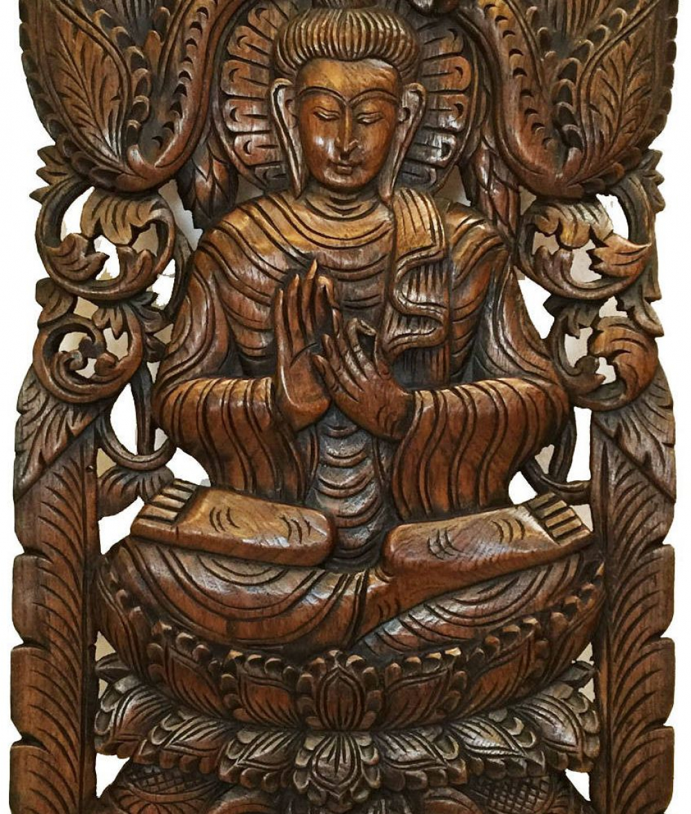 Teak Wood Buddha Wall Art Sculpture Hand Carved Wood