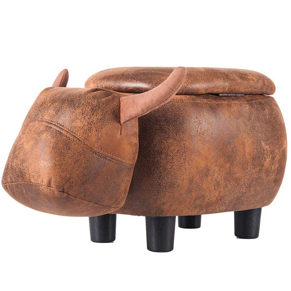 Brilliant Details About Rustic Brown Buffalo Faux Leather Fabric Top Storage Ottoman Evergreenethics Interior Chair Design Evergreenethicsorg