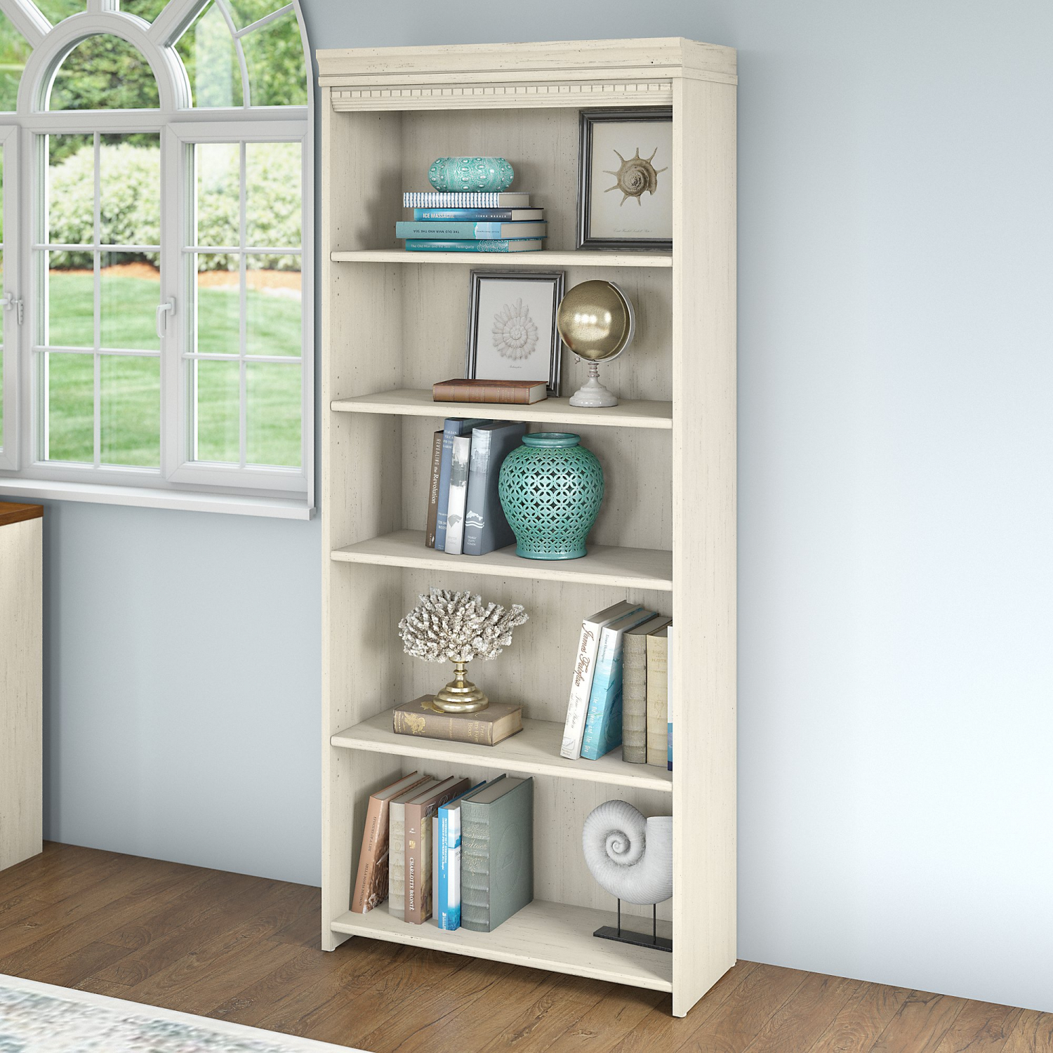 Details About Bush Furniture Fairview 5 Shelf Bookcase In Antique White