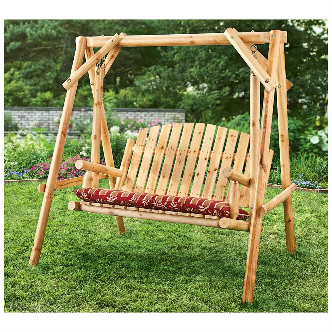 Stonegate Designs Fir Wood Log Fire Pit Curved Bench