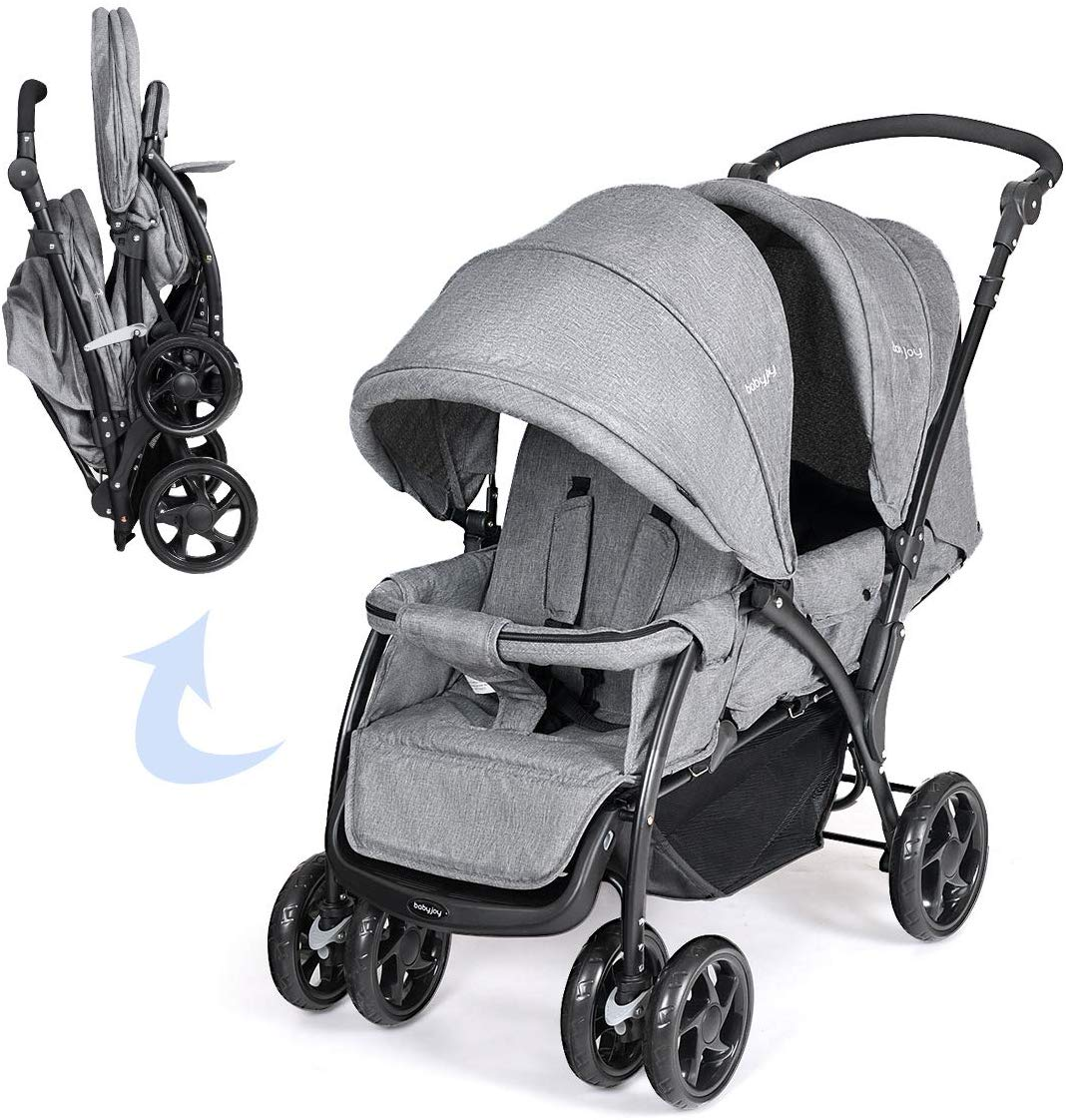 NEW Double Seat Twin Baby Stroller Buggy Pushchair Pram From Birth Grey