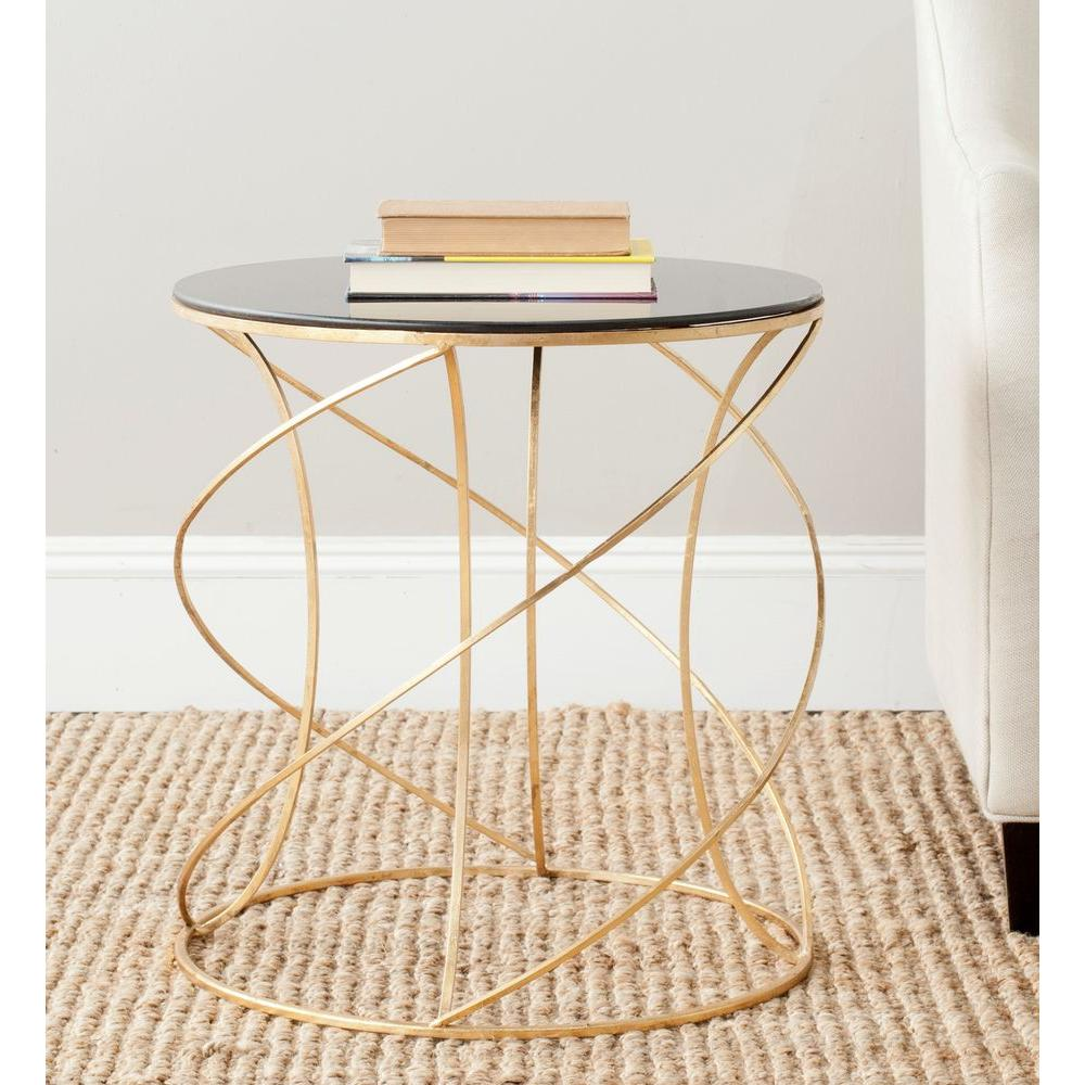 - Round Gold & Black Glass Top End Side Accent Table Geometric Swirl