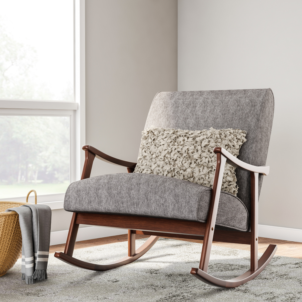 Incredible Details About Gray Fabric Mid Century Mod Rocking Chair Retro Wooden Rocker Firm Foam Cushion Creativecarmelina Interior Chair Design Creativecarmelinacom