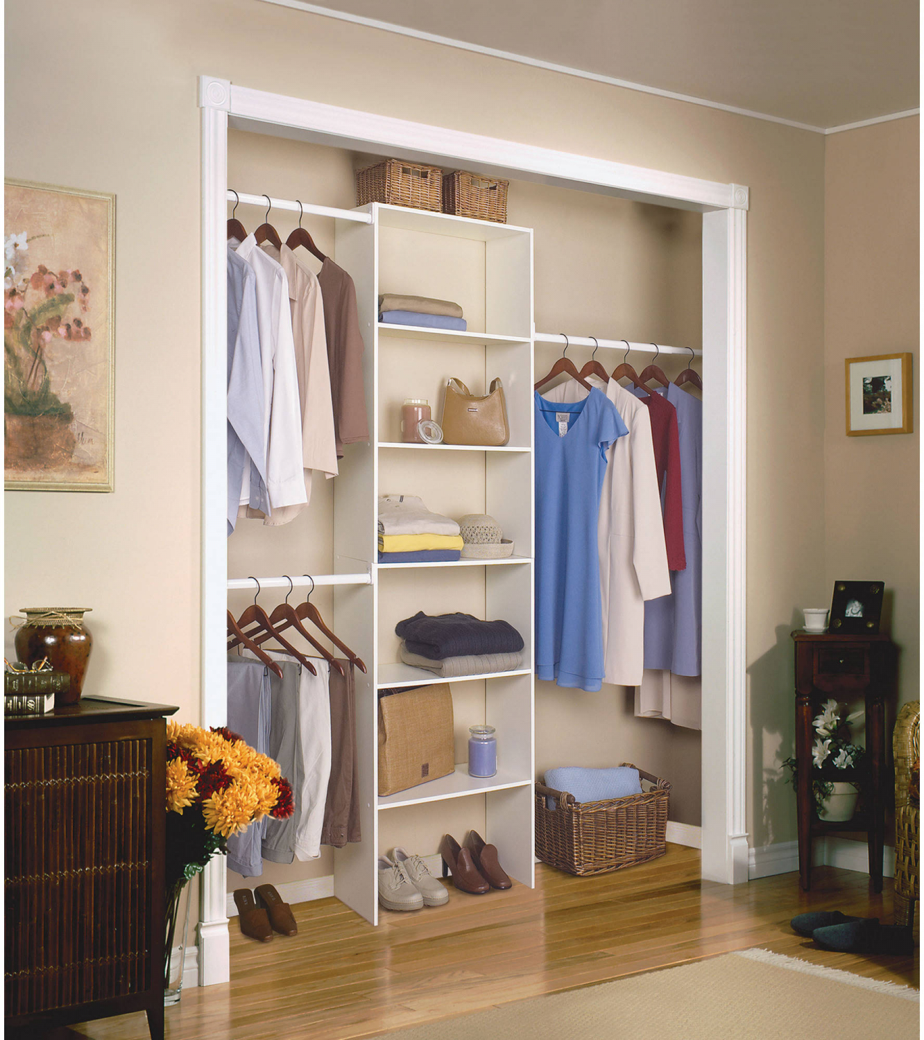 Details About Vertical Closet Organizer 24 Storage Wood Shelf System Clothes Shelves Rods New