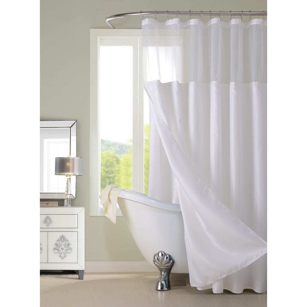 Details About Complete Shower Curtain Bathroom Bath Tub Cover Hanging 72 Inch Hotel Home White