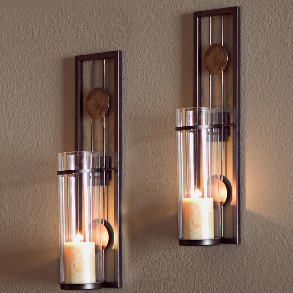 Details About Wall Candle Sconce Light Decor Contemporary Metal Brown Antique Patina 2 Set New