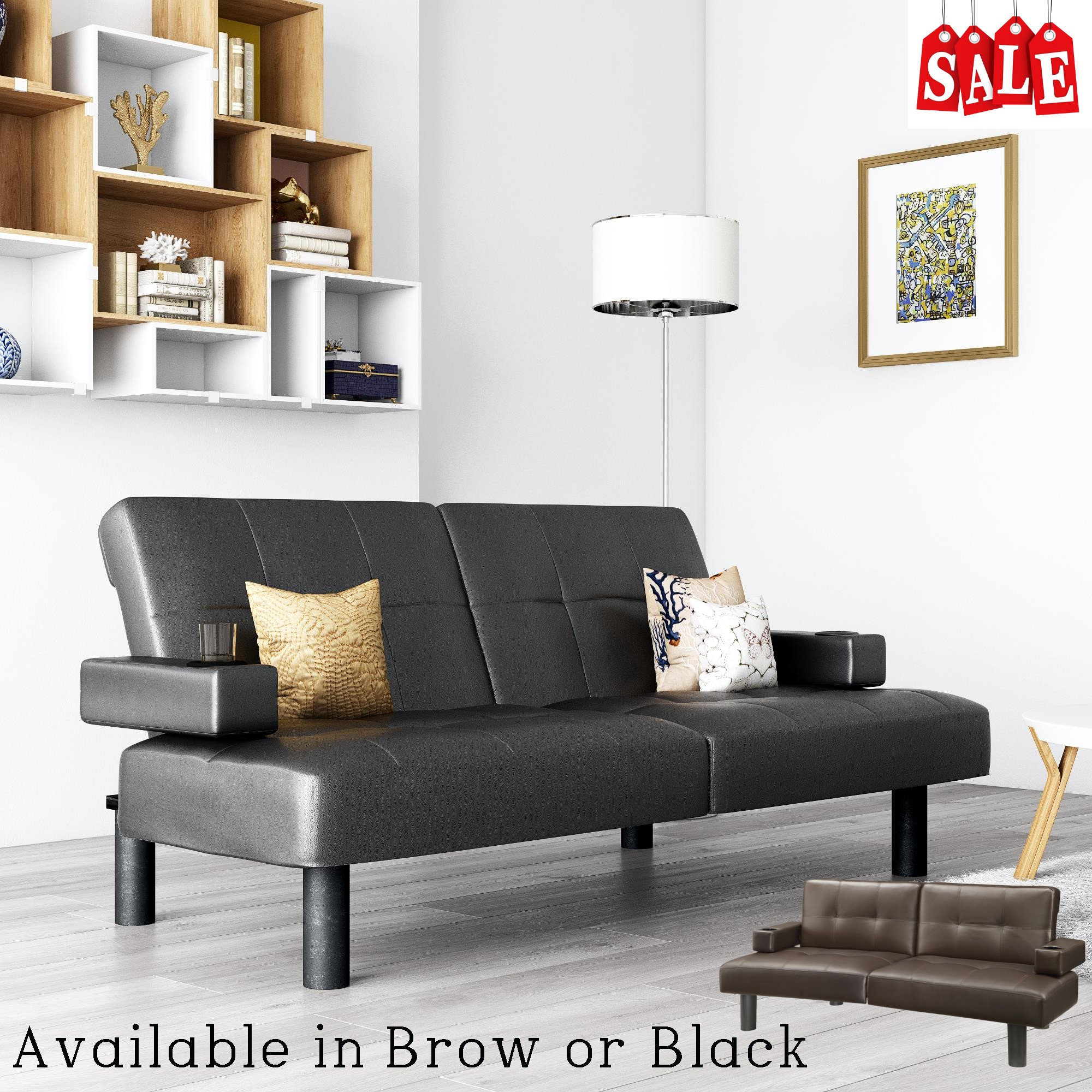 Details About Convertible Faux Leather Futon Sofa Bed Sleeper W Cup Holder Black Brown Tufted