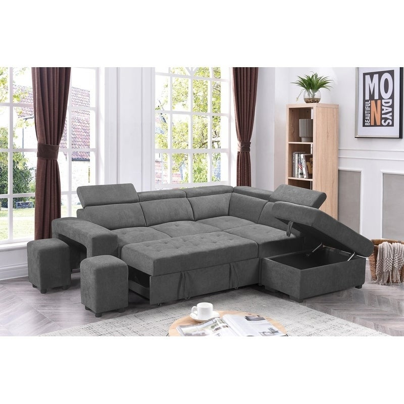 Sectional Sofa Sleeper L Shaped Pull Out Bed Storage ...