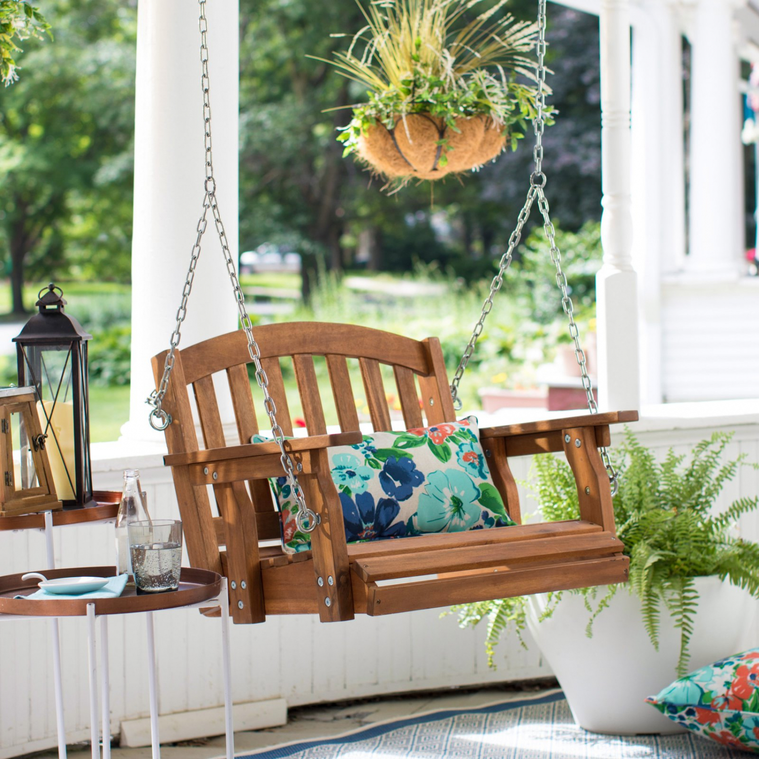 Outdoor Wooden Porch Swing Hanging