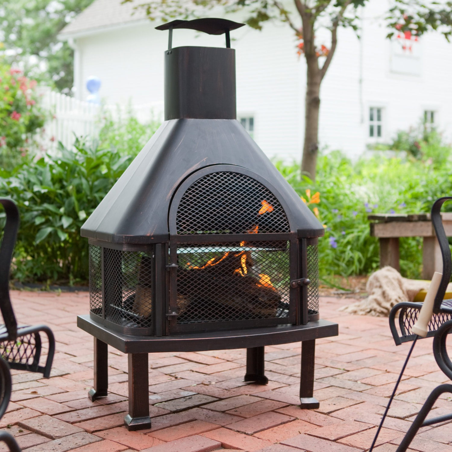 Prime Details About Outdoor Fireplace Fire Pit Wood Burning Chiminea Cover Rack Cooking Grate Yard Home Interior And Landscaping Ologienasavecom