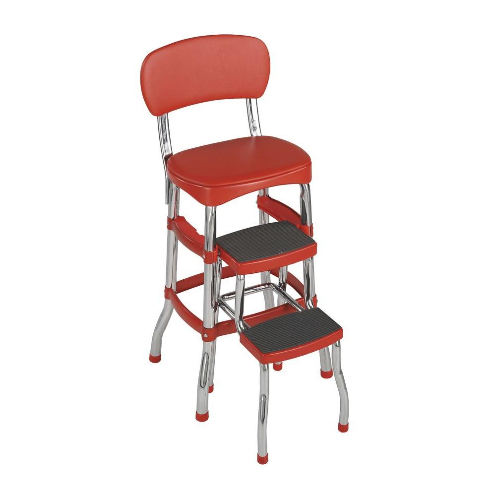Miraculous Details About 3 Ft 2 Step Stool Aluminum 225 Lb Weight Capacity With Padded Seat Back Red Creativecarmelina Interior Chair Design Creativecarmelinacom