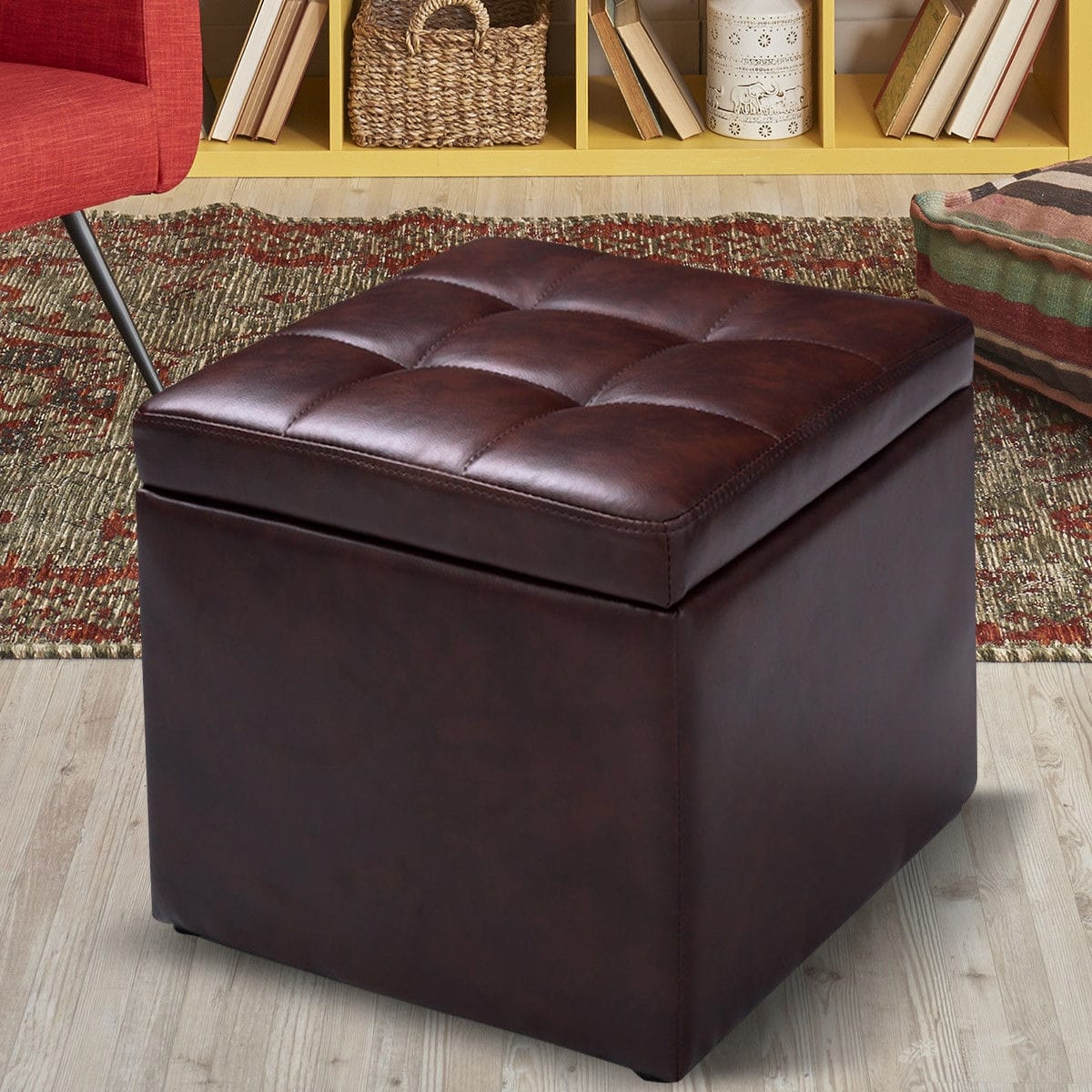 Awe Inspiring Details About Faux Leather Cube Ottoman Pouf Home Storage Box Footrest Seat Coffee Table Brown Pabps2019 Chair Design Images Pabps2019Com