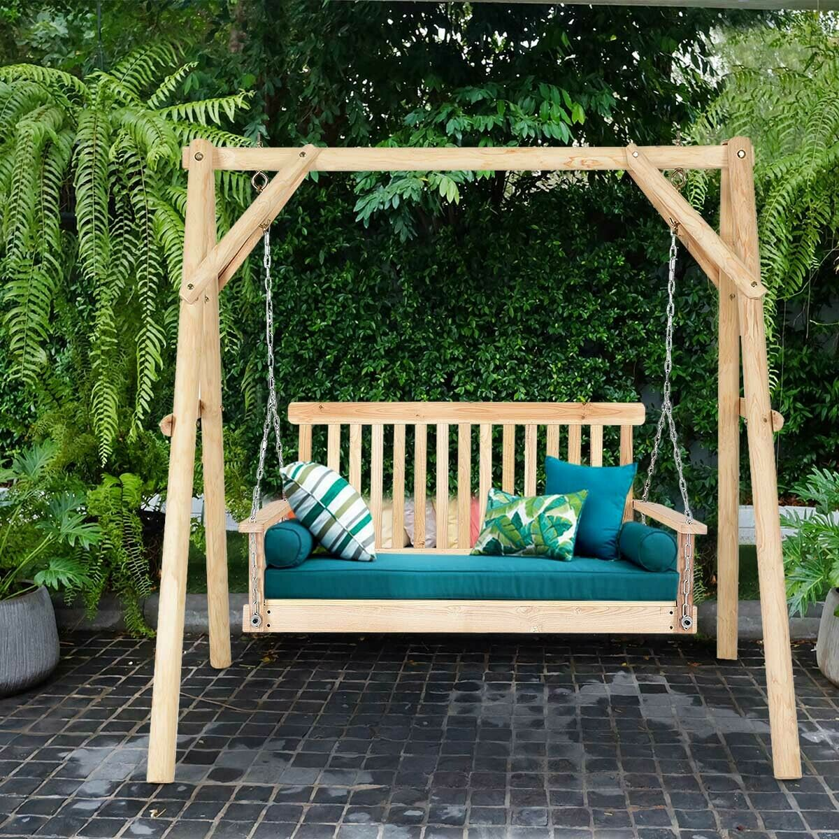 Seat Porch Garden Swing Natural Wood