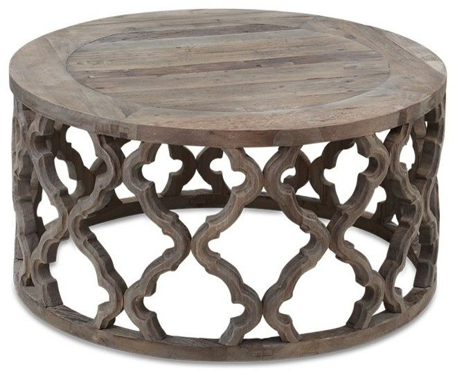 Round Coffee Table Wood.Details About Rustic Moroccan Style Reclaimed Wood Round Coffee Table Latticed Quatrefoil Base