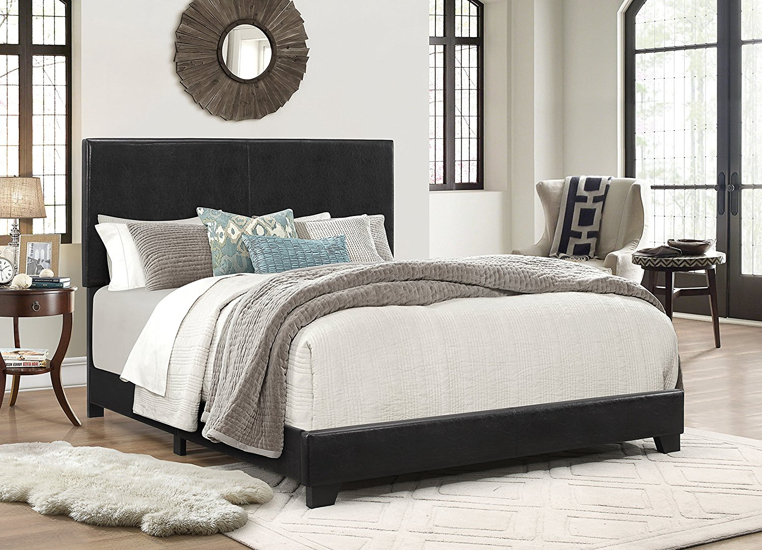 Picture of: Platform Bed Frame With Headboard Queen Size Upholstered Beds Wood Frames Black 784082143120 Ebay