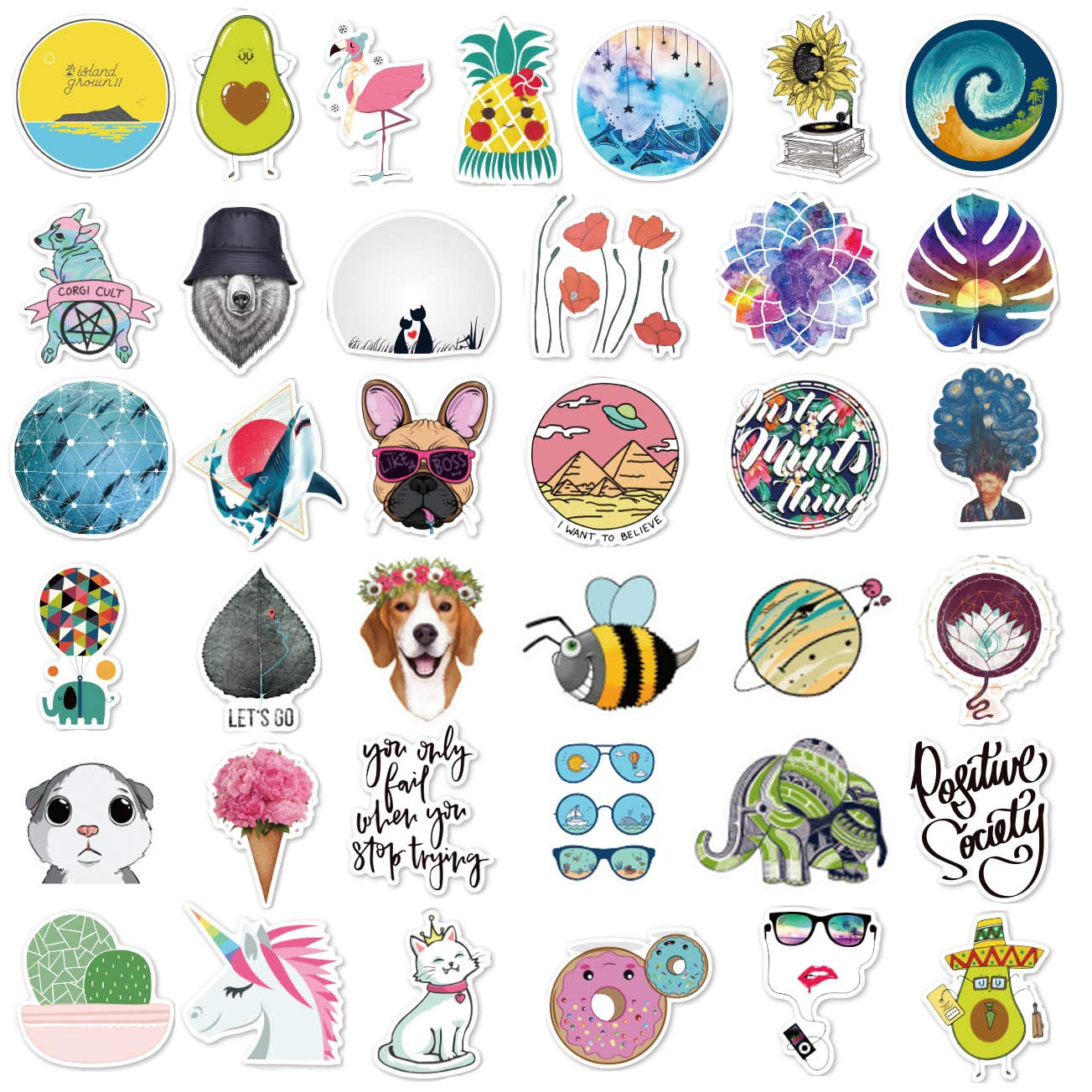 stickers aesthetic sticker laptop pack water bottle decal 105pcs app