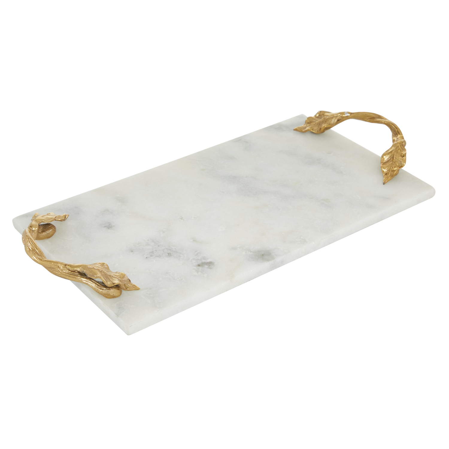 Large Rectangular White Marble Serving Tray Decorative Gold Leaf Metal Handles Ebay