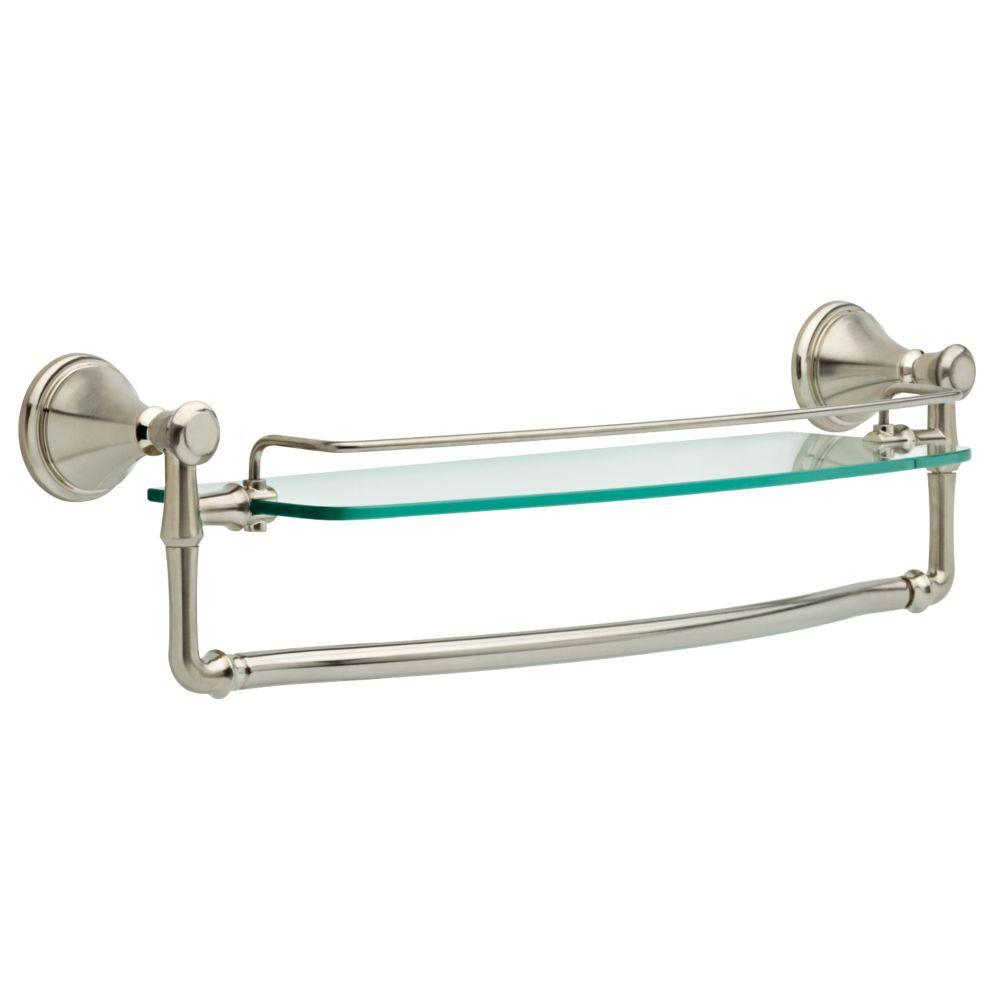 Details About 18 In Bathroom Gl Shelf With Towel Bar And Spot Shield Technology Stainless