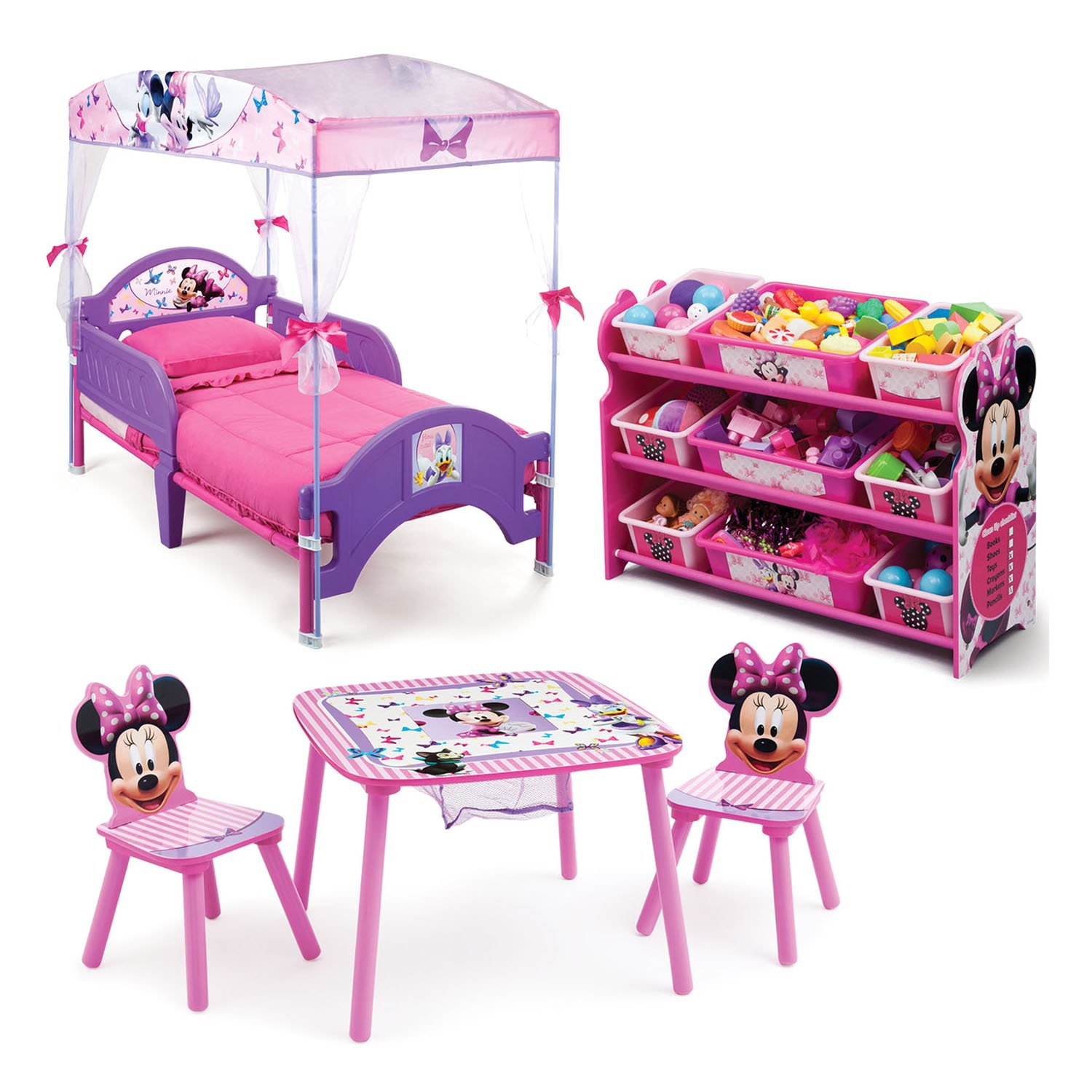 Details about Girls Minnie Mouse Disney Toddler Canopy Bed Bedroom Toy Bins  Table Chairs Set