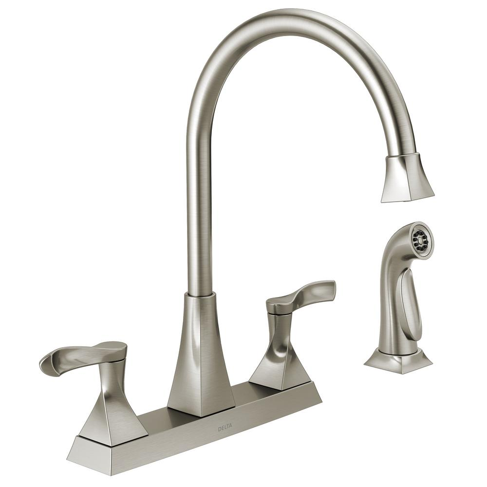 Kitchen Faucet 2 Lever Handle 3 4 Hole