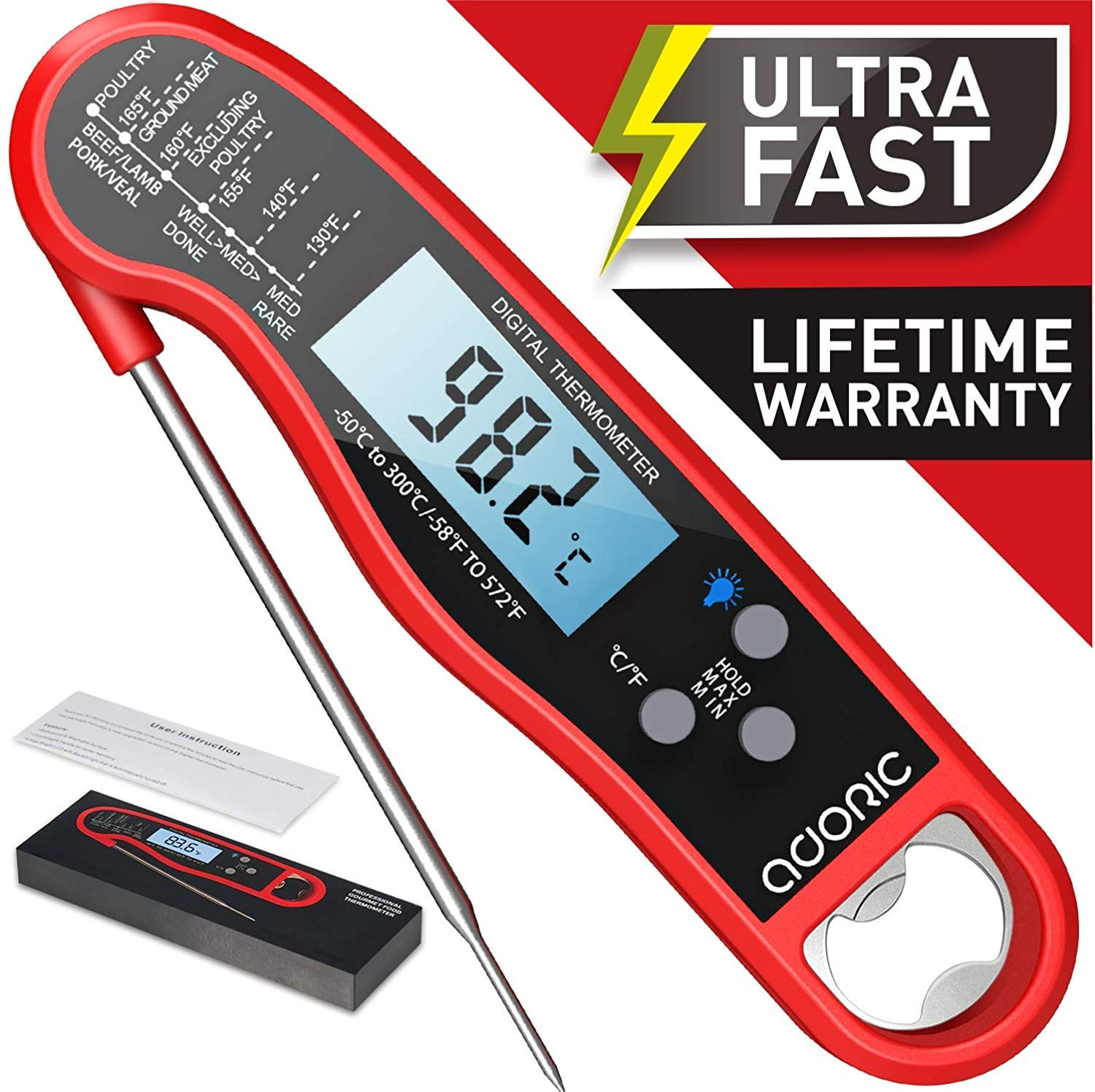 Kitchen Digital Thermometer Instant Read Food Meat Probe BBQ Cooking Tool CGY