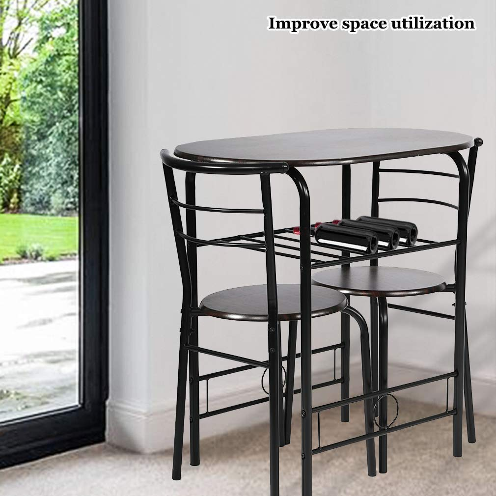 Details about Kitchen Table Dining Set steel metal chairs SMALL SPACE 2  person Coffee Shop new
