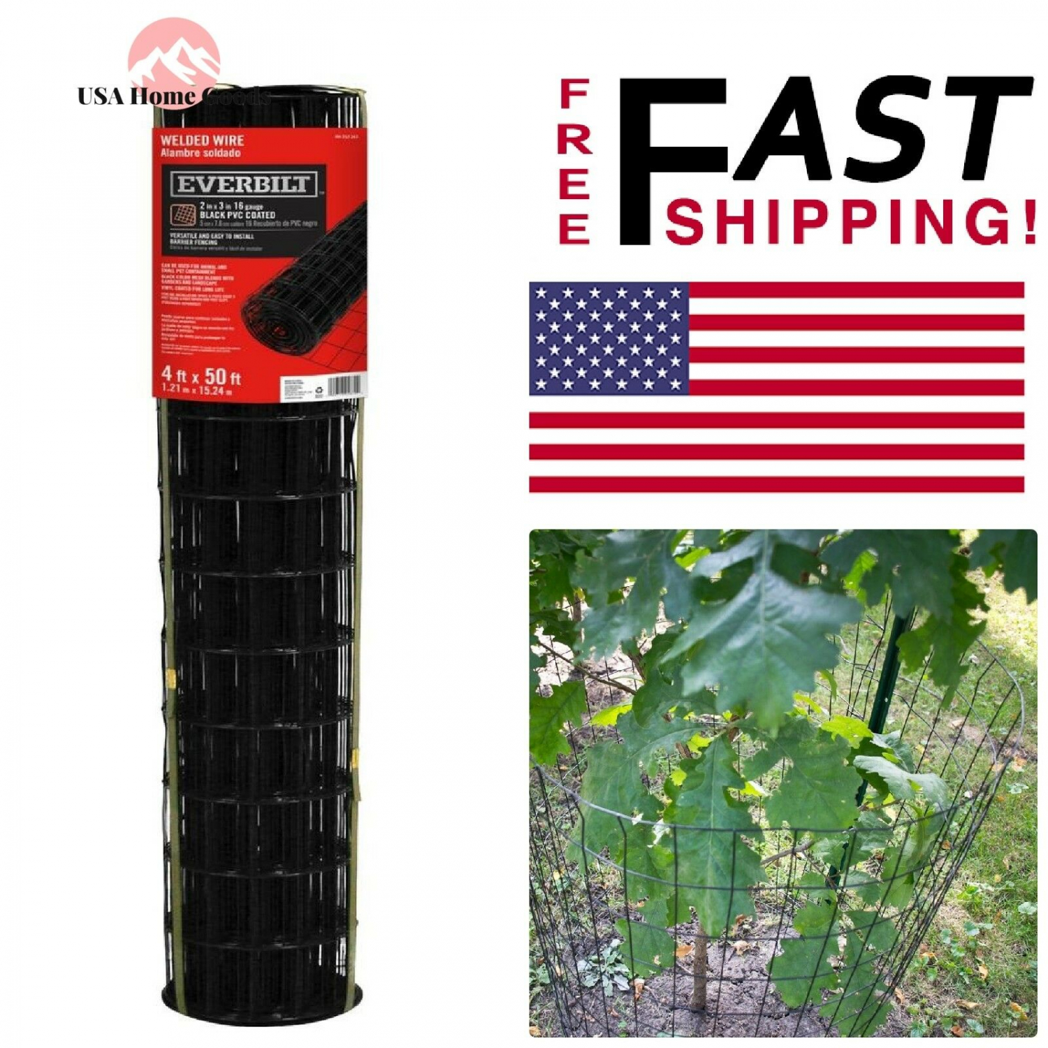 Everbilt 4 ft Black PVC Coated Welded Wire Fence x 50 ft
