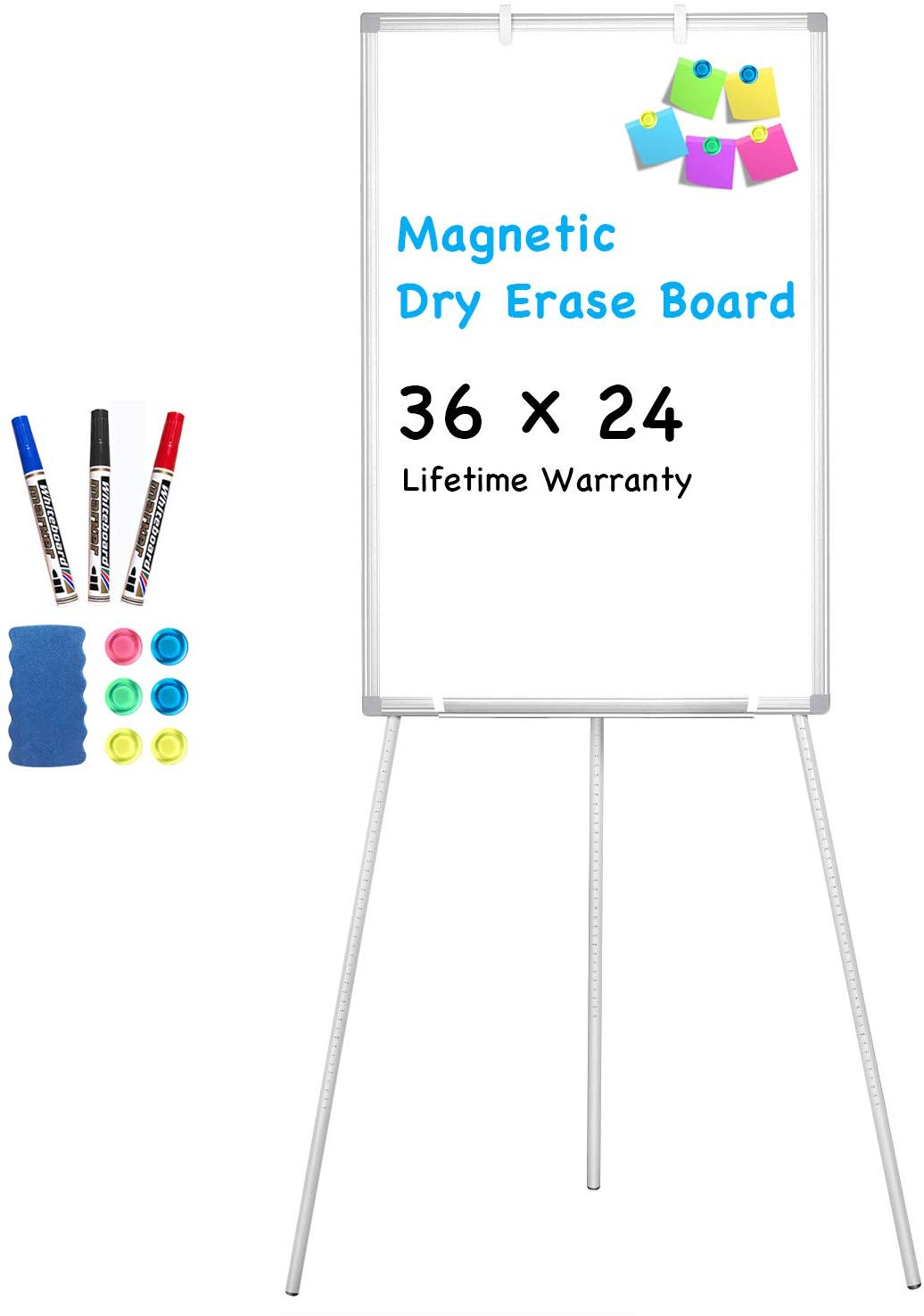Tripod Single-sided Mobile WhiteBoard with Stand 36*24 Magnetic Dry Erase Board
