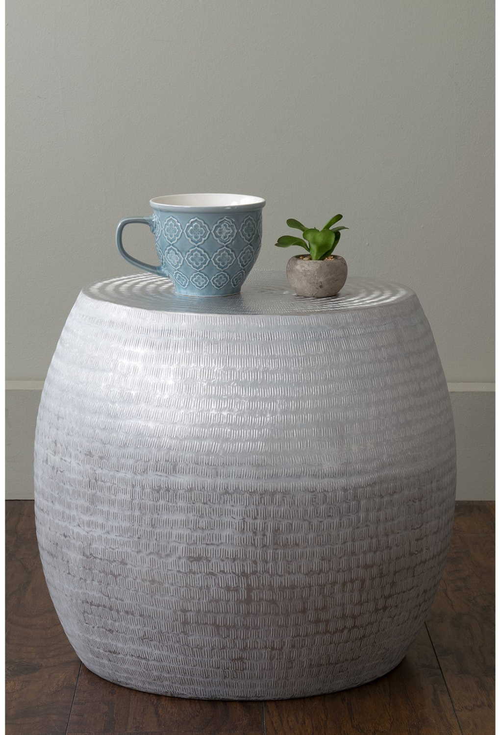 Details About Silver Wash Hammered Metal Round Side End Table Aluminum Drum Textured Accent