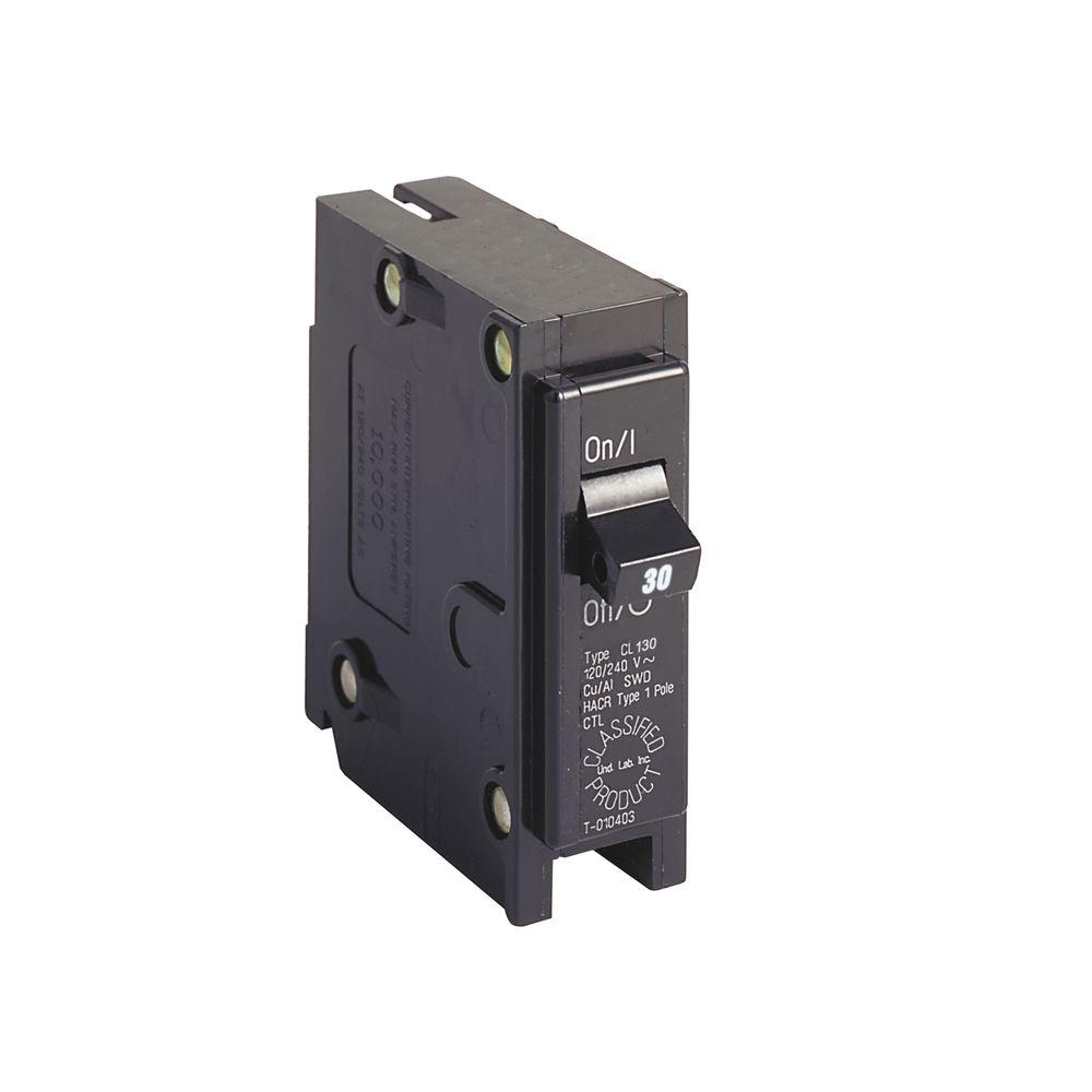 Eaton BR 30 Amp Single Pole Circuit Breaker Replacement Square Black Compatible