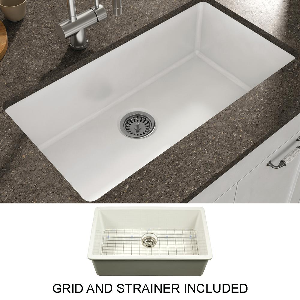 Kitchen Sink Undermount Fireclay Single Bowl Free Grid Strainer White 31 5 Inch Ebay