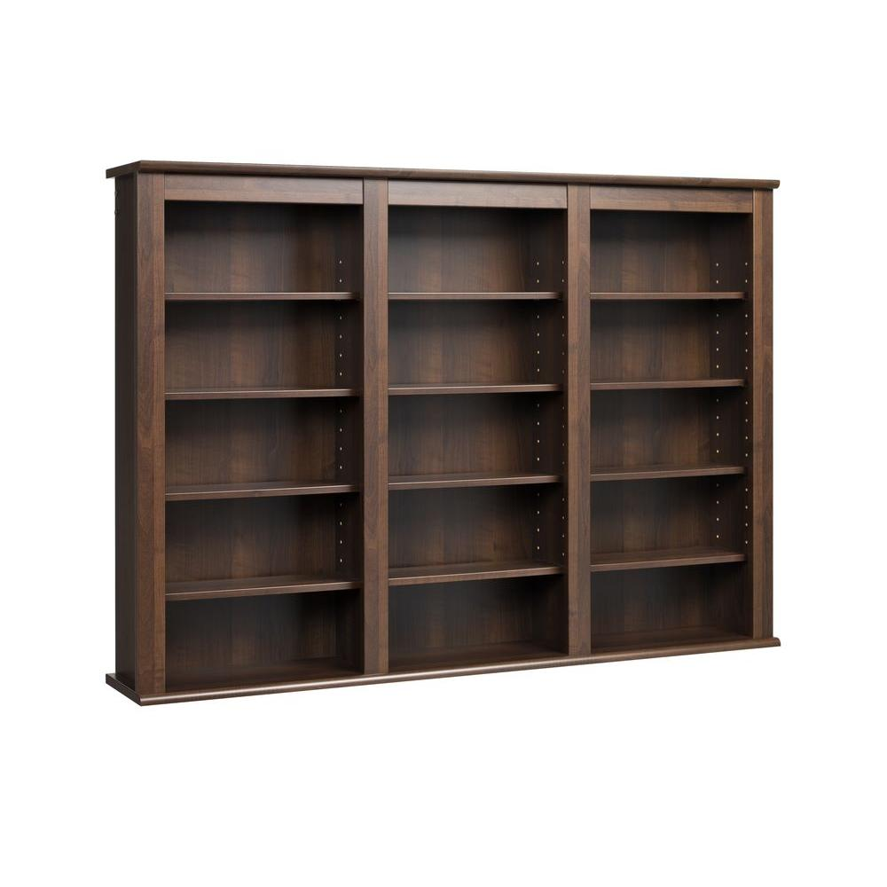 Details About 34 In Media Storage Triple Wall Mounted With 12 Adjule Shelves Espresso