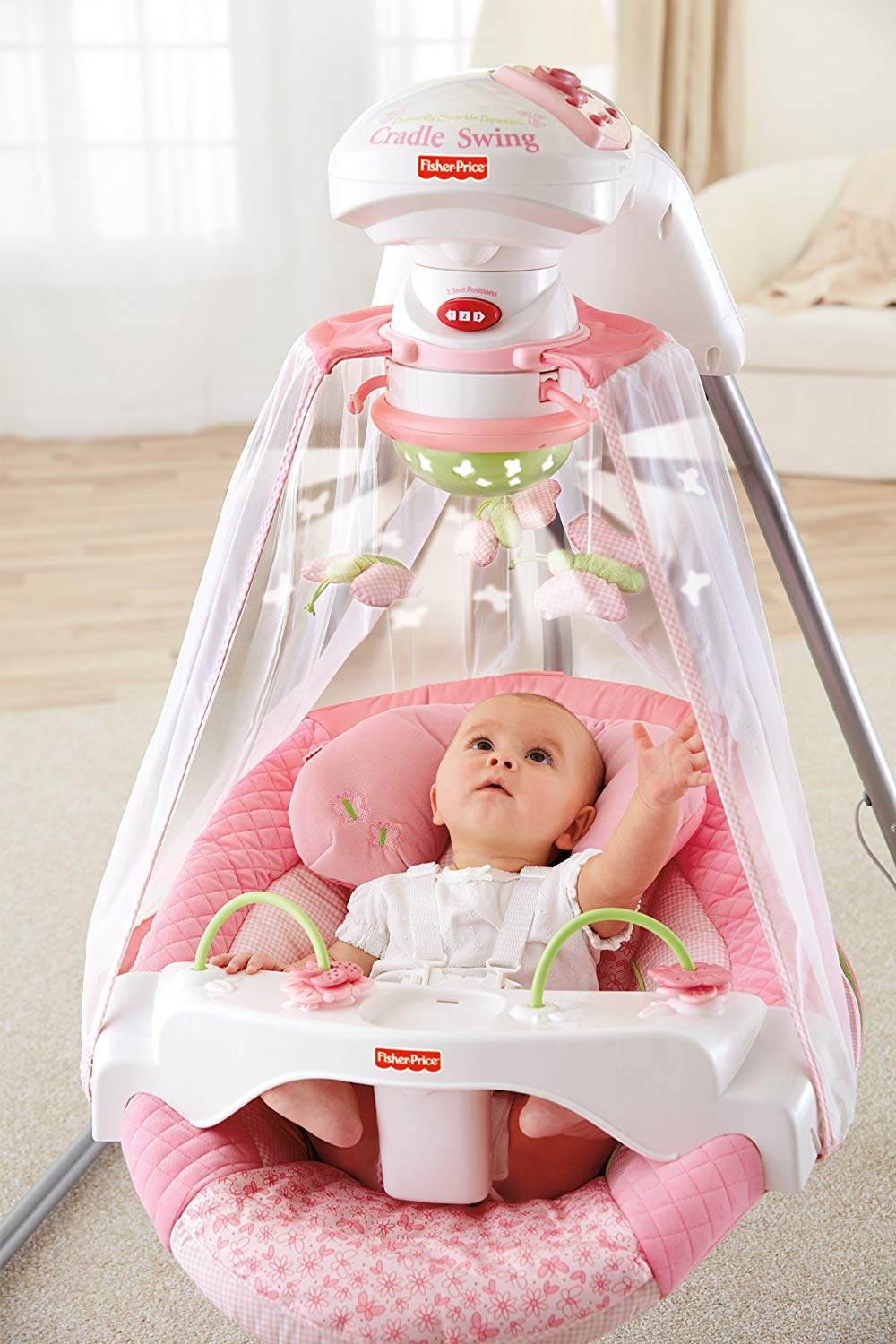 Baby Swing Fisher Price Cradle Infant Girls Pink Portable