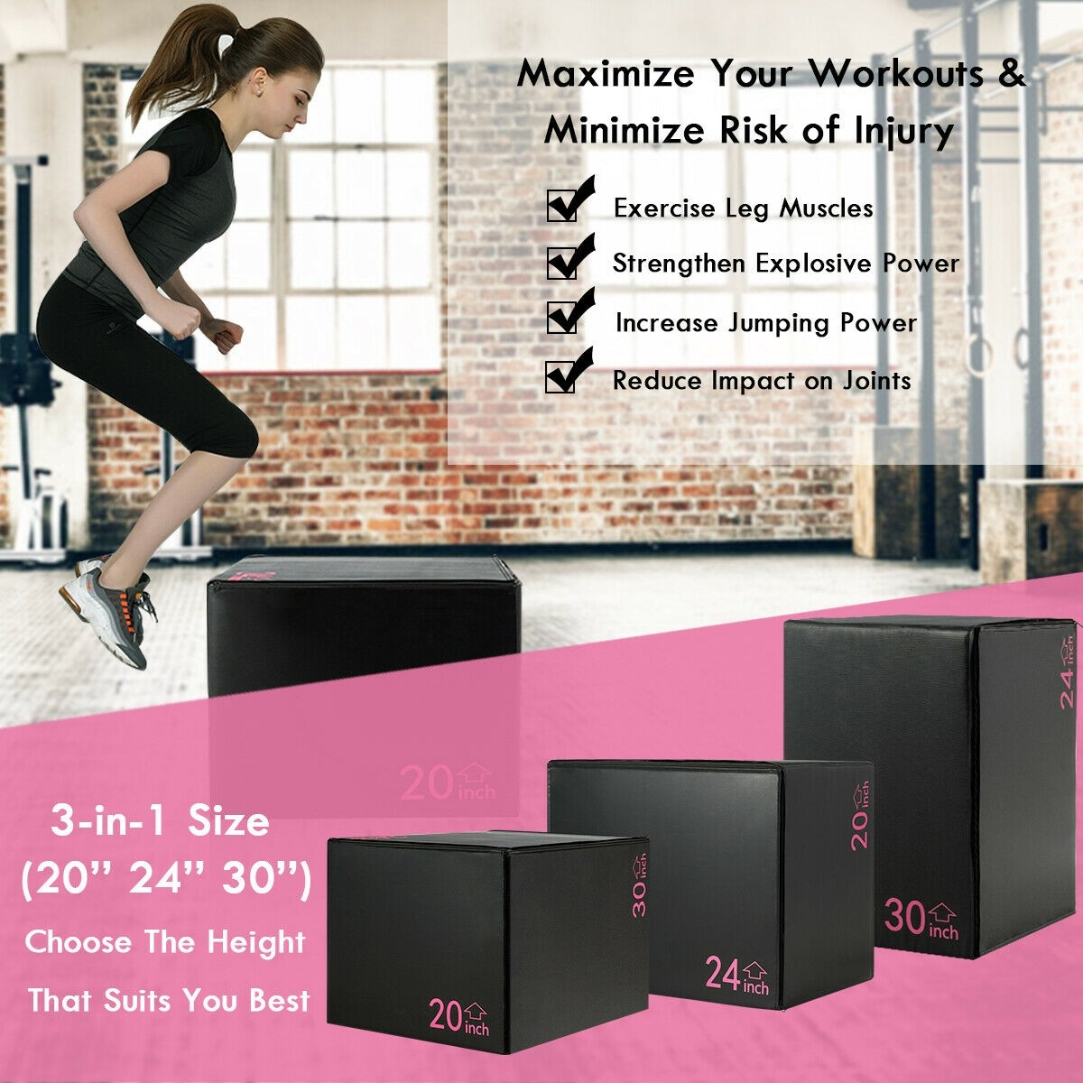 Details about Fitness 3 In 1 Foam Jumping Plyometric Box For Jump Leg  Training 20