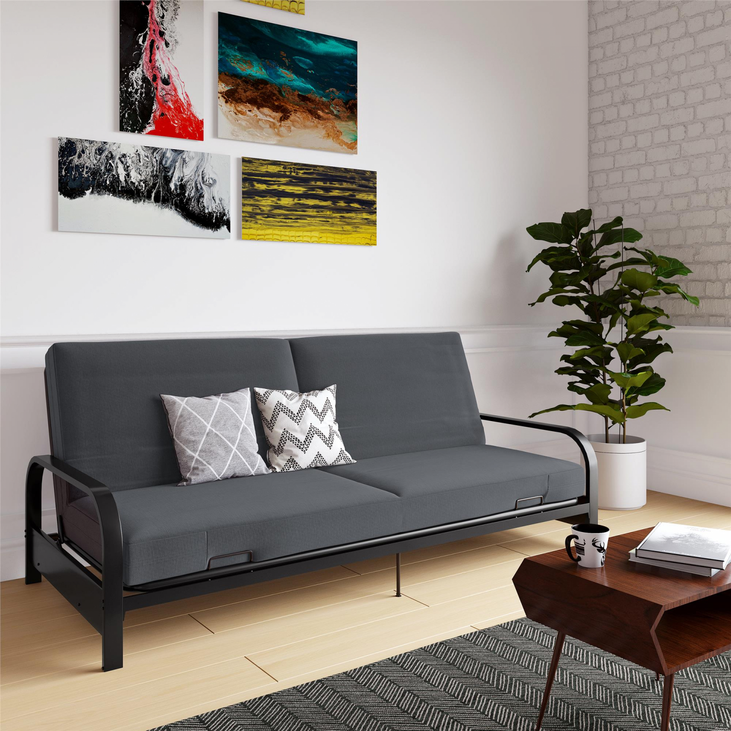 Outstanding Details About Full Size Futon Sleeper Sofa Bed Frame With Mattress Convertible Couch Loveseat Theyellowbook Wood Chair Design Ideas Theyellowbookinfo