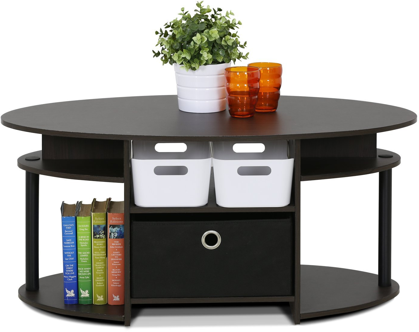 Oval Coffee Table With Shelf.Details About Oval Coffee Table Stand Living Room Modern Wood Storage Shelf Display Furniture