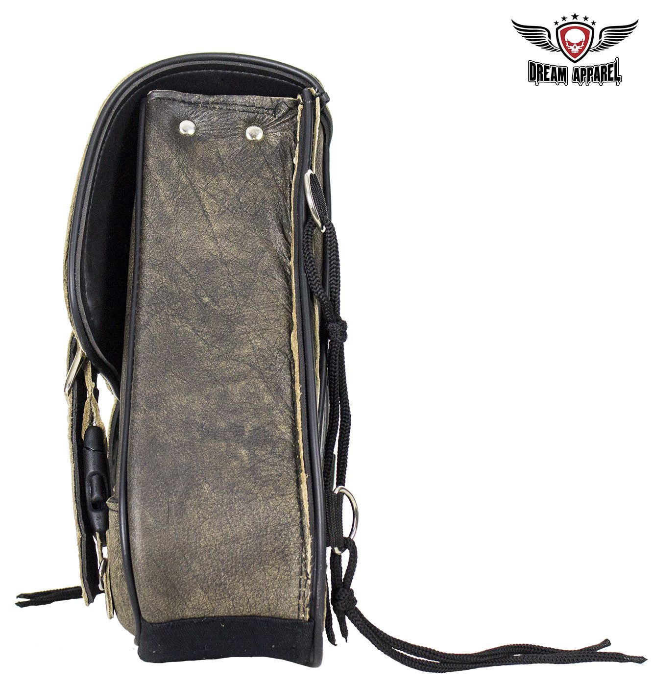 Genuine Distressed Brown Leather Right Side Swing Arm Bag Universal Motorcycle